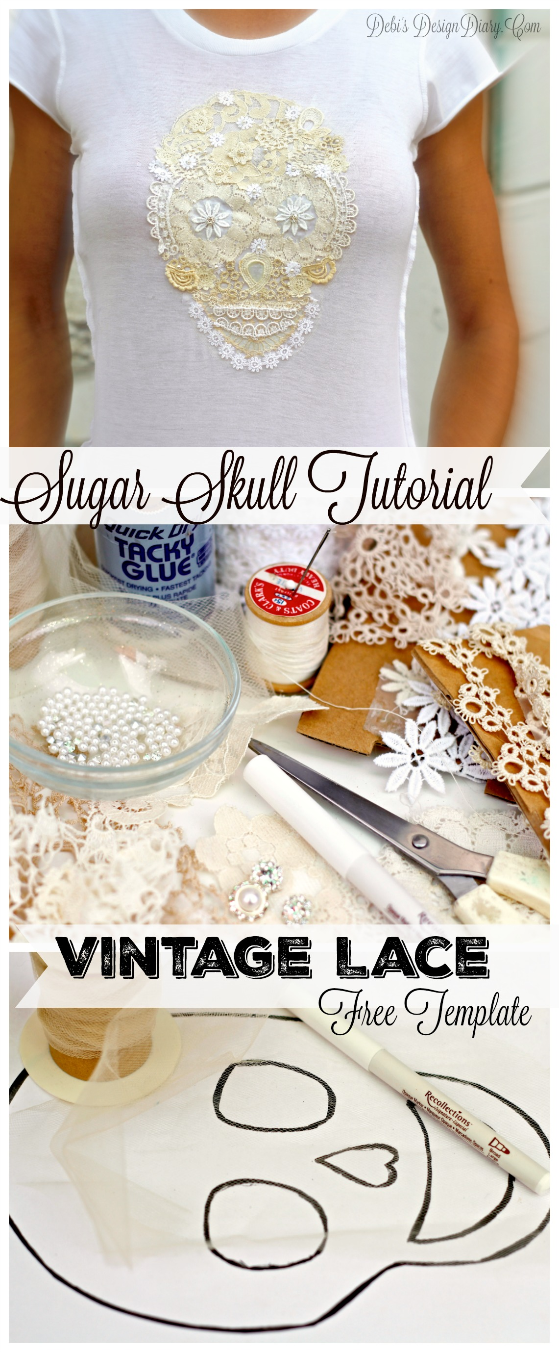 vintage lace sugar skull tutorial