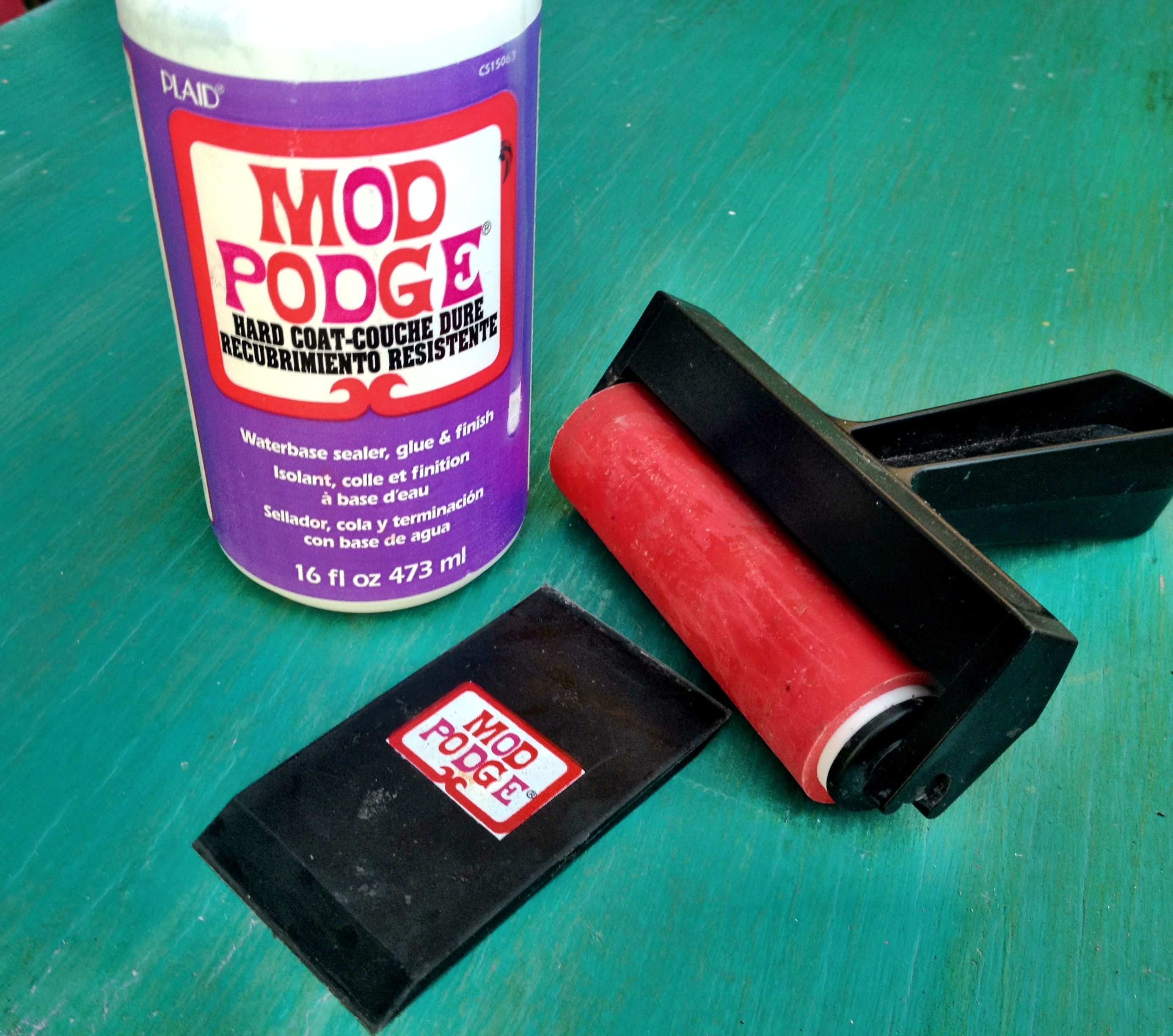 Mod Podge brayer and squeegee