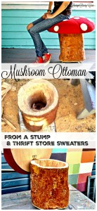 how to make an ottoman from a stump and thrift store sweaters