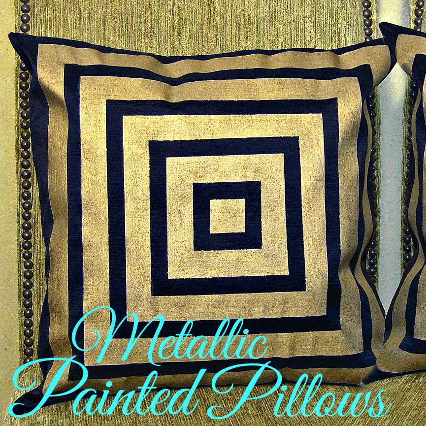 metallic painted pillows