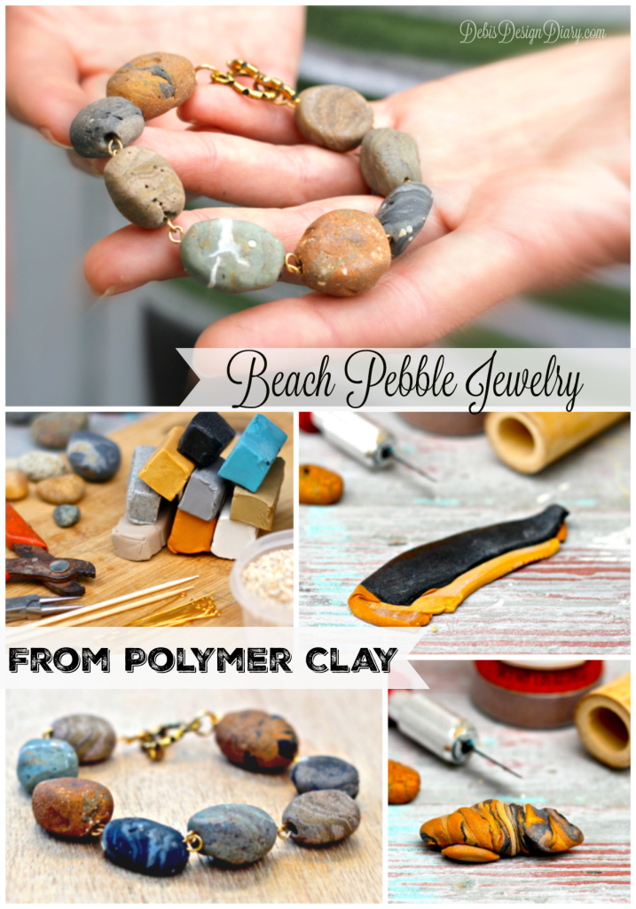 how to make beach pebble jewelry from polymer clay