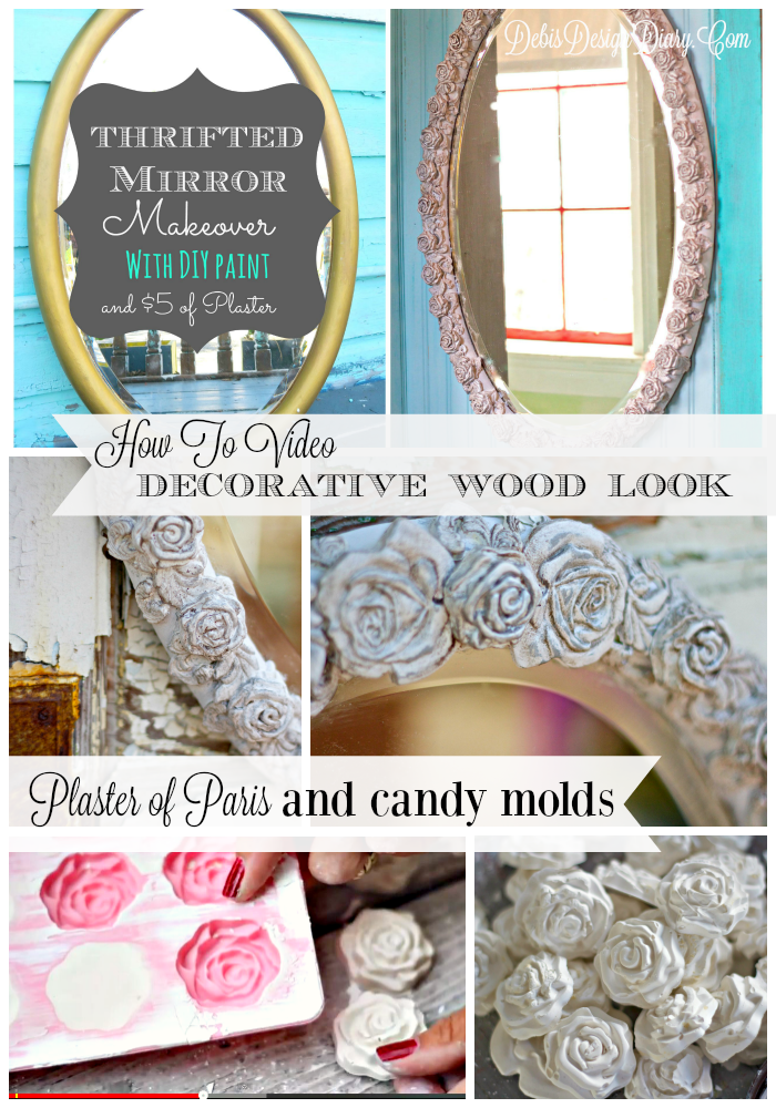 Mirror Makeover With Plaster Of Paris Candy Molds And Chalk Type