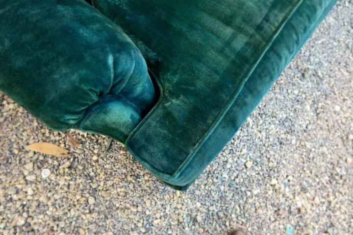 velvet sofa detail