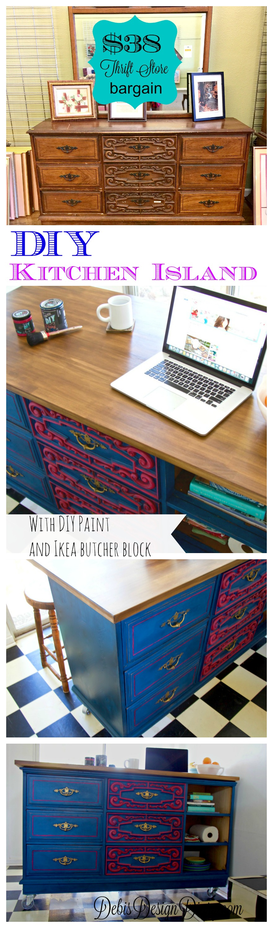how to turn a thrift store dresser into a kitchen island