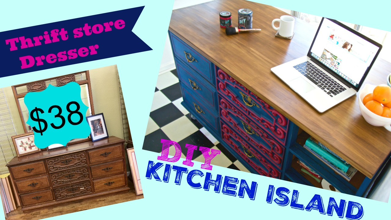 thrift store dresser becomes kitchen island