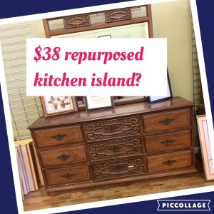 kitchen island up cycled from a thrift store dresser