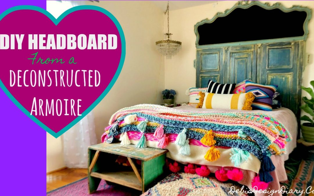 DIY Headboard made from a Deconstructed Armoire and How to Paint Velvet Upholstery..Again