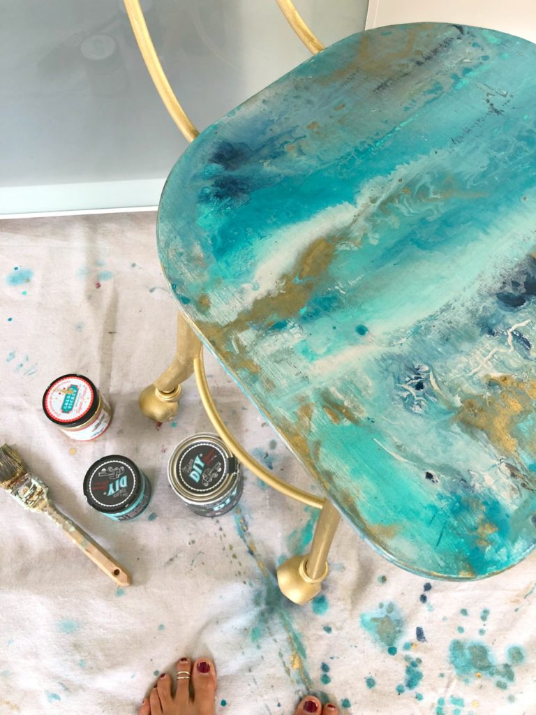 How To Do A Quot Geode Paint Pour Quot On A Chair Inspired By