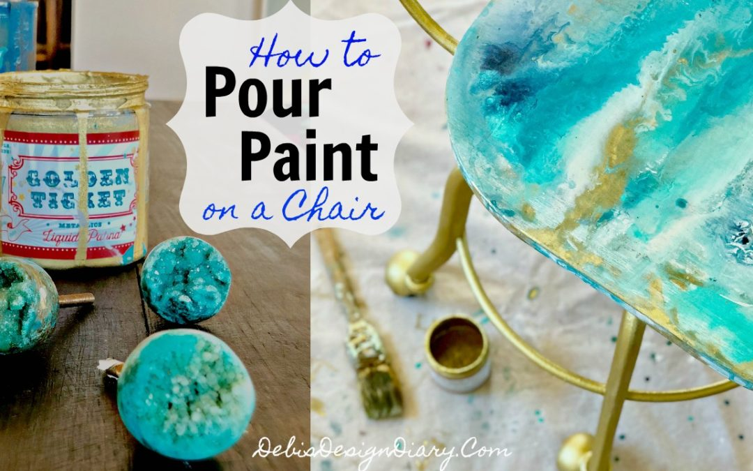 "How to do a ""Geode-Paint-Pour"" on a Chair- Inspired by Anthropologie Drawer Knobs"
